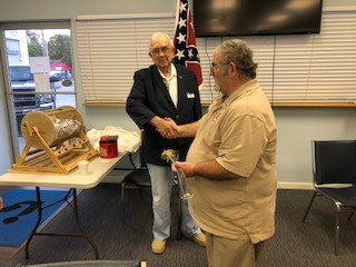 Camp Treasurer Robert W. Yancy thanking Adjutant James E. Tucker, Sr. for the wonderful gift.