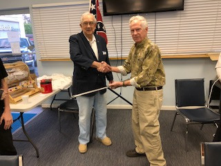2nd Lieutenant Commander Gary E. Poore thanking Adjutant James E. Tucker, Sr. for the wonderful gift.