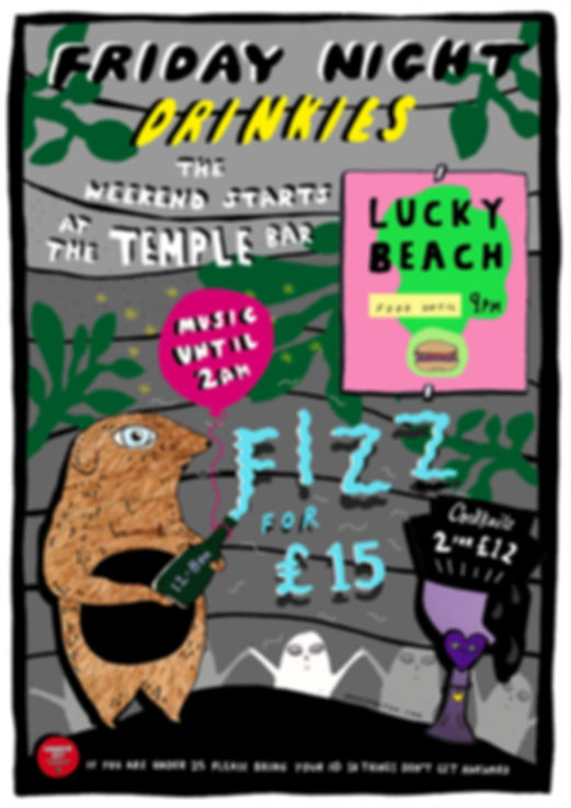 The Temple Bar Friday Night Drinkies Poster (Grey, Gren and PInk)