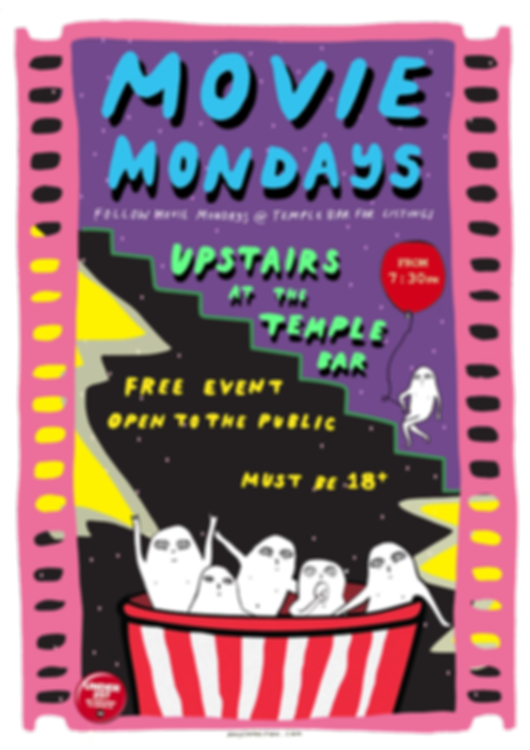 The Temple Bar Movie Mondays Poster (Pink, Purple, Green and Blue)