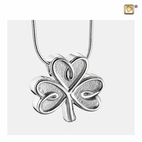 CelticShamrock Ashes Pendant Polished & Brushed Silver