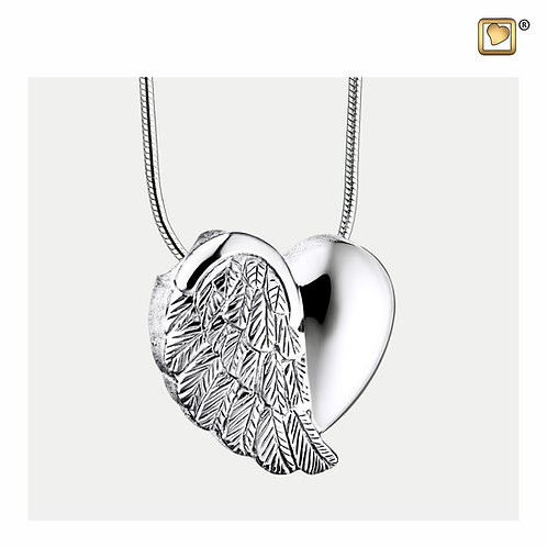 LoveWings Ashes Pendant Polished & Brushed Silver