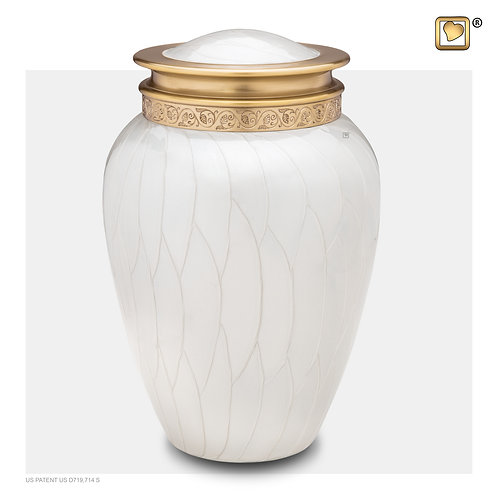 Blessing Urn Pearl White & Brushed Gold