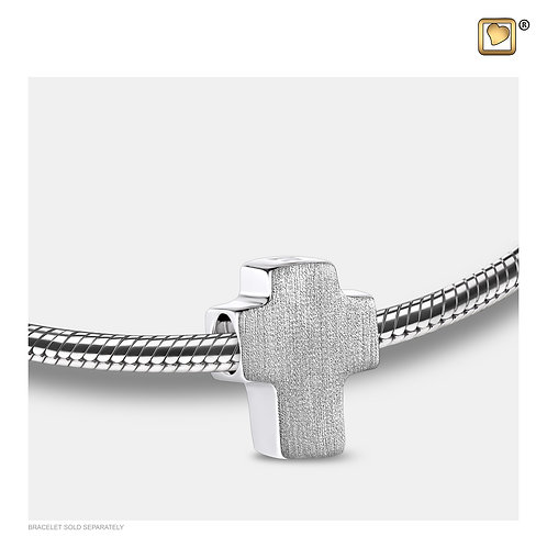 Cross Ashes Bead Brushed Silver