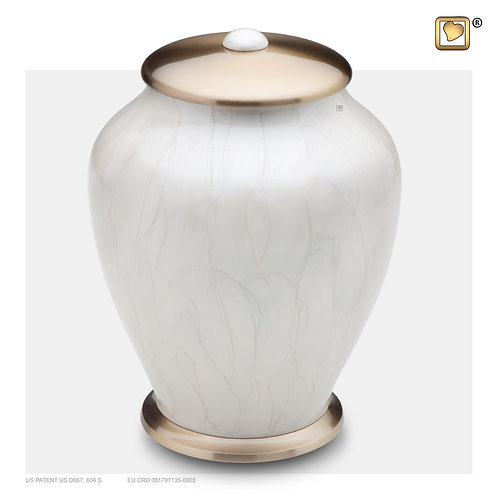 Simplicity Urn Pearl White & Brushed Gold