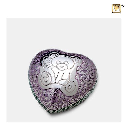 TeddyBear Heart Keepsake Urn Pink & Polished Silver