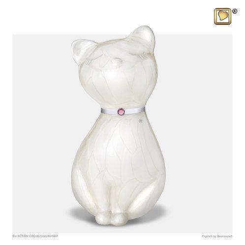 PrincessCat Pet Urn Pearl White & Brushed Pewter with Swarovski®