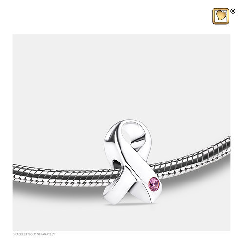 Awareness Ashes Bead with Pink Zirconia Crystal