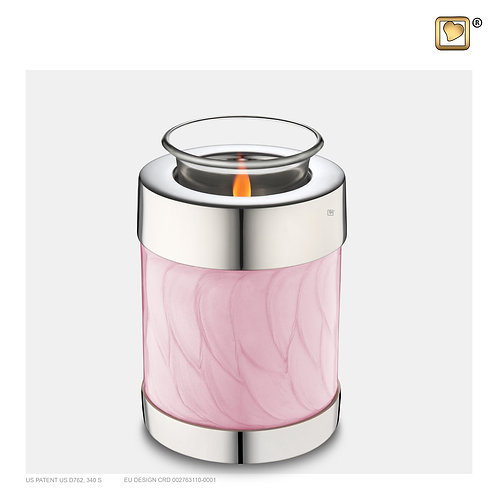 Tealight Urn Pearl Pink & Polished Silver