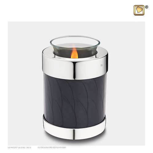 Tealight Urn Pearl Midnight & Polished Silver