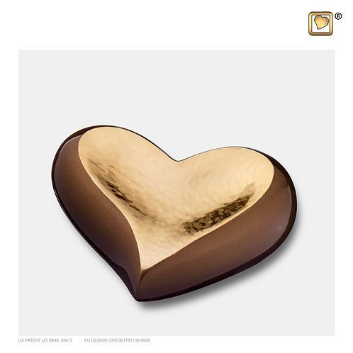 Heart Keepsake Urn Bronze & Hammered Gold