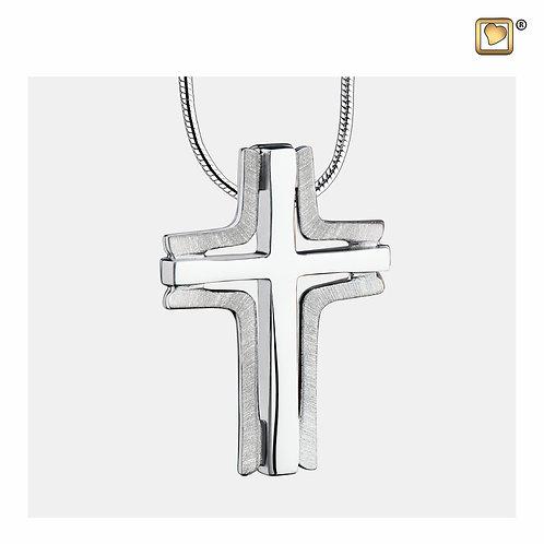 Cross Elegant Ashes Pendant Brushed Silver