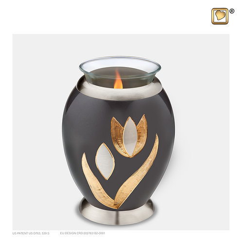 Majestic Tulip Tealight Urn Midnight & Brushed Pewter