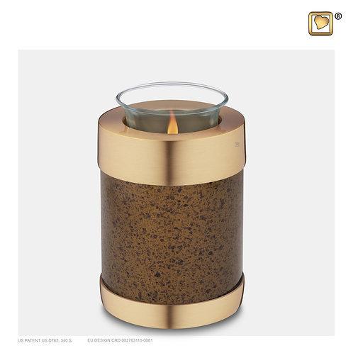 Tealight Urn Speckled Auburn & Brushed Gold