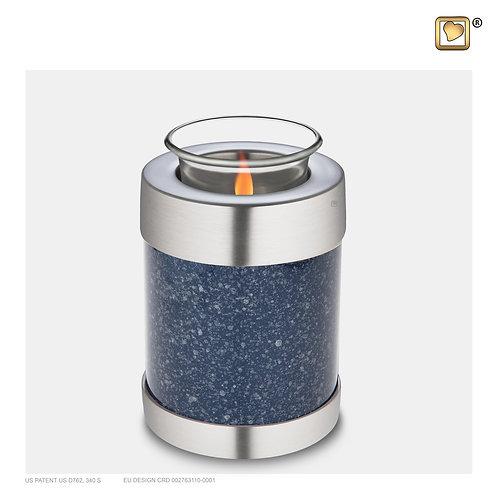 Tealight Urn Speckled Indigo & Bru Pewter