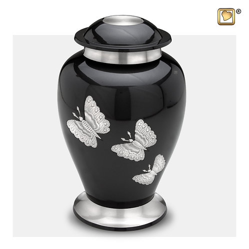 Tradional Butterflies Urn Midnight & Brushed Pewter