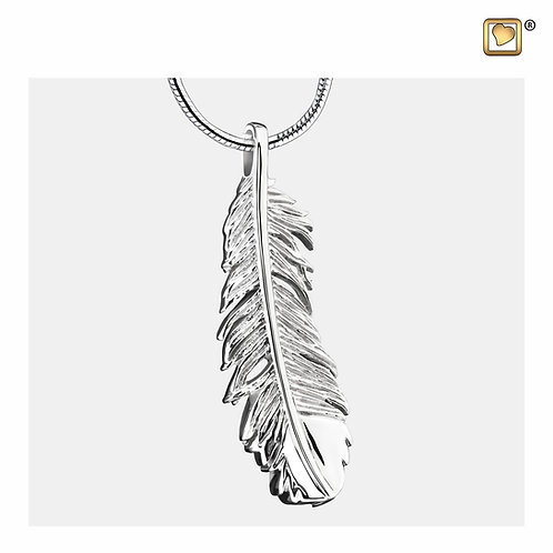 Feather Ashes Pendant Polished Silver