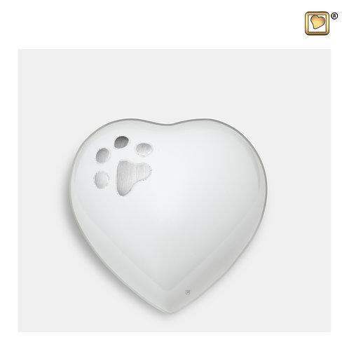 Keepsake Heart Pet Urn White & Brushed Pewter