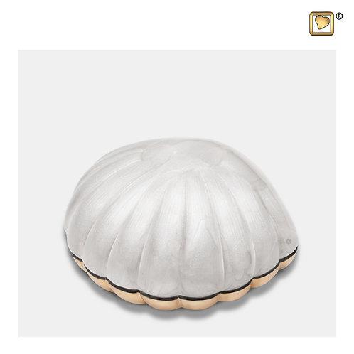 Shell Keepsake Urn Pearl White & Brushed Gold
