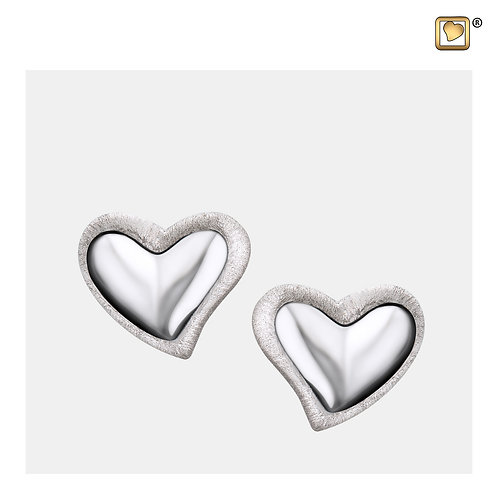 Leaning Heart Stud Earrings Polished & Brushed Silver