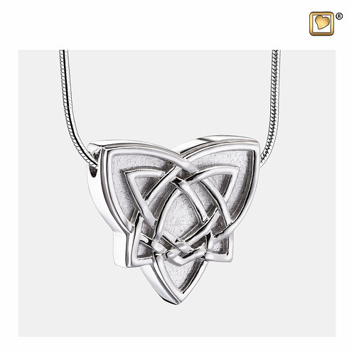 CelticTrinityKnot Ashes Pendant Polished & Brushed Silver