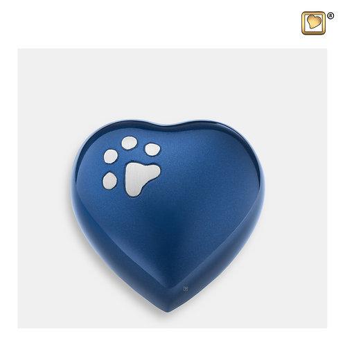 Keepsake Heart Pet Urn Blue & Brushed Pewter