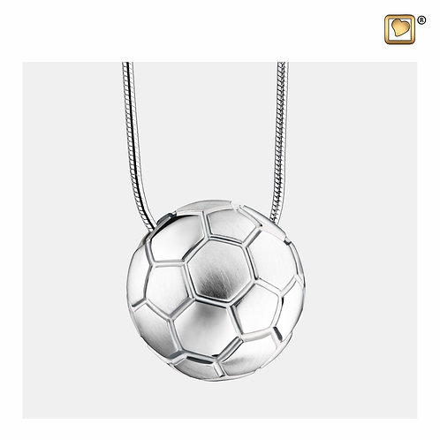 SoccerBall Ashes Pendant Polished & Brushed Silver