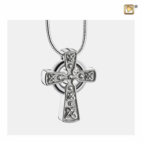 CelticCrosswithKnots Ashes Pendant Polished & Brushed Silver