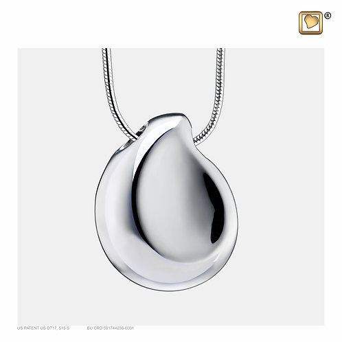TearDrop Ashes Pendant Polished Silver