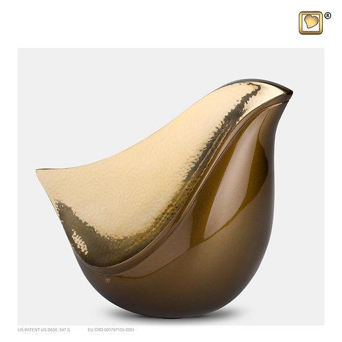 LoveBird Urn Bronze & Hammered Gold