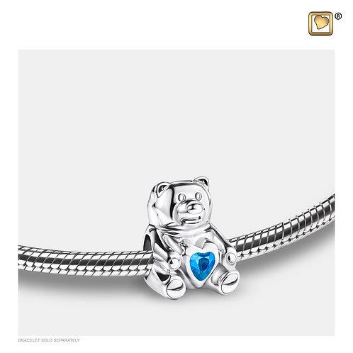 CuddleBear Ashes Bead with Blue Zirconia Crystal