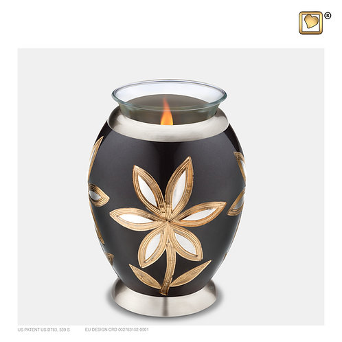 Majestic Lillies Tealight Urn Midnight & Brushed Pewter