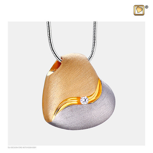HeartFelt Ashes Pendant Brushed Silver & Gold Vermeil with Zirconia Crystal
