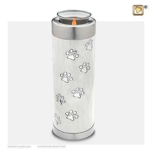 Tall Pet Tealight Urn Pearl White & Brushed Pewter