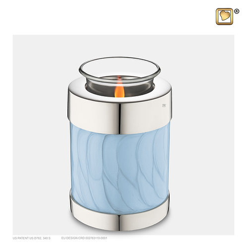 Tealight Urn Pearl Blue & Polished Silver