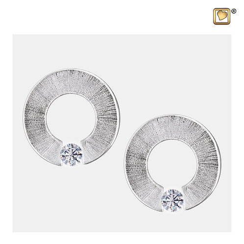 Omega Stud Earrings Pol & Brushed Silver