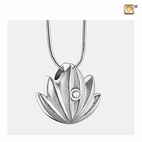 Lotus Ashes Pendant Brushed Silver with Zirconia Crystal