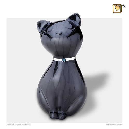 PrincessCat Pet Urn Pearl Midnight & Brushed Pewter with Swarovski® Crystal