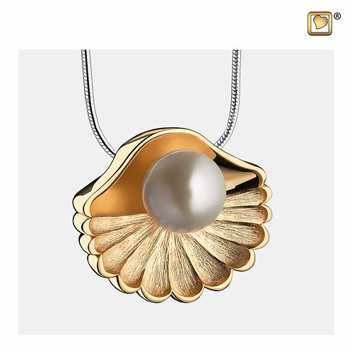 SeaShell Pearl Ashes Pendant Polished & Brushed Gold Vermeil