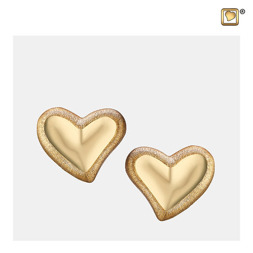 Leaning Heart Stud Earrings Polished & Brushed Gold Vermeil
