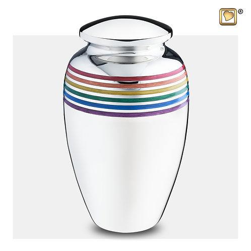 Pride Rainbow Urn Polished Silver