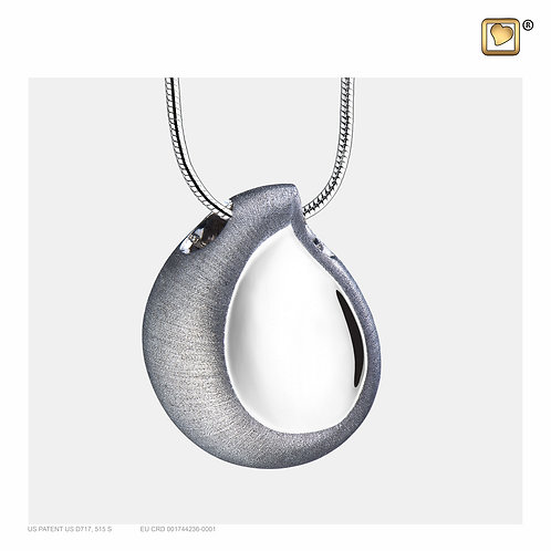 TearDrop Ashes Pendant Polished & Brushed Silver