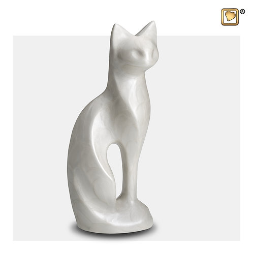 Cat Pet Urn Pearl White