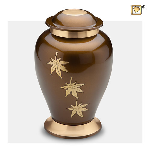 Classic Falling Leaves Urn Bronze & Brushed Gold