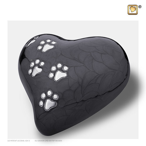 Heart Pet Urn Pearl Midnight & Brushed Pewter