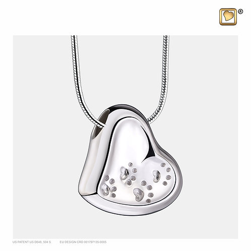 Leaning Heart with Paws Ashes Pendant Polished Silver