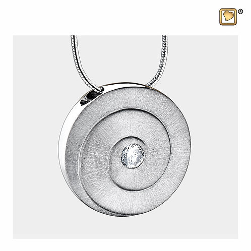Eternity Ashes Pendant Brushed Silver with Zirconia Crystal