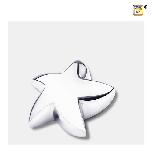 Angelic Star Keepsake Urn Polished Silver
