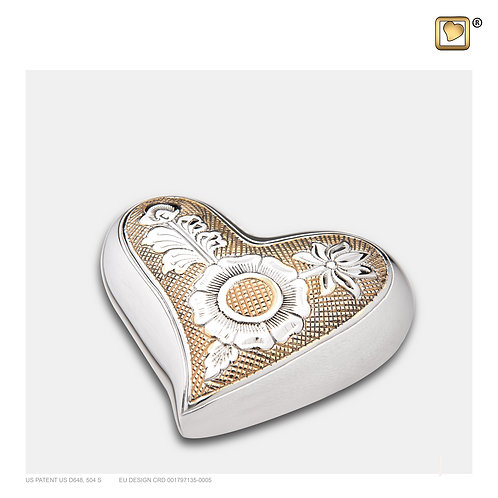 Elegant Floral Heart Keepsake Urn Polished Silver