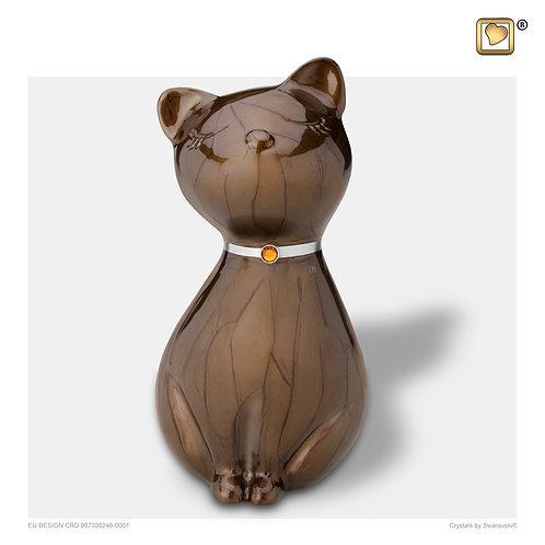 PrincessCat Pet Urn Pearl Bronze & Brushed Pewter with Swarovski®
